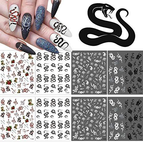 8 Blatt Schlange Nagelsticker, Kalolary Nail Art Sticker Tierdrucke Nagel Aufkleber Selbstklebend Kunstnägeln Nägeldesign Nageltips Dekorationen Zubehör für Kinder Mädchen Damen