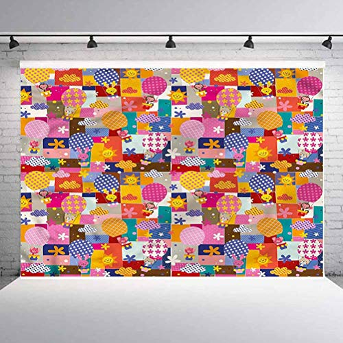 7x7FT Vinyl Wall Photography Backdrop,Kids,Cute Animals Air Balloons Background for Baby Birthday Party Wedding Studio Props Photography