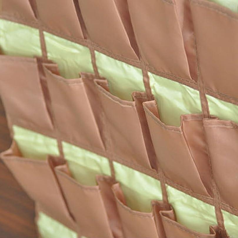 狂乱行為バイオレット2個 ウォールポケット 壁掛け 30ポケット ぶら下げ 収納袋 カード/名刺/小物 収納用品 全3色 - ブラウン
