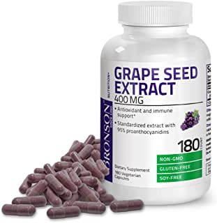 Bronson Grape Seed Extract 400 mg - Antioxidant & Immune Support - Standardized Extract with 95% Proanthocyanidins- Non GM...
