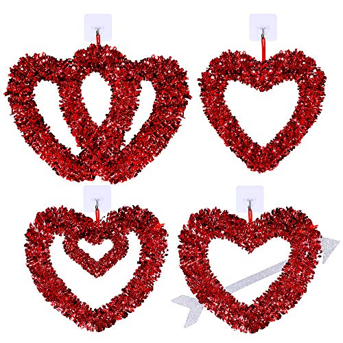 Winlyn 4 Pcs Valentines Heart Wreaths Assortment Red Tinsel Foil Heart Shaped Wedding Wreaths Valentines Front Door Wreaths for Door Wall Window Valentine's Day Wedding Holiday Party Decorations