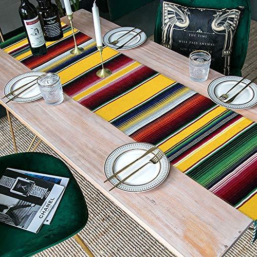 GKkakuto Mexikanischer Tischläufer, 35,6 x 214,6 cm, handgewebte Fransen, Baumwolle, bunt gestreift, Serape-Tischläufer für mexikanische Party, Cinco de Mayo Fiesta Party, Hochzeitsdekorationen