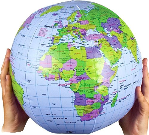 SHATCHI Inflatable World Globe Earth Map Geography Teacher Aid Ball Toy Gift 40 cm