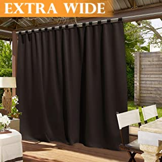 RYB HOME Extra Wide 100 inch Outdoor Panel, Waterproof Curtain Outside Décor for Sliding Glass Door/Patio Door/Corridor Blackout Drapery, 100 Wide by 120 Long, Brown