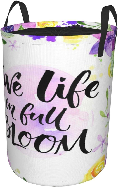 Cesto de lavandería redondo,viva la vida en plena floración,dicho inspirador,flores de acuarela y caligrafía de pincel,cesto de lavandería plegable impermeable con cordón,19