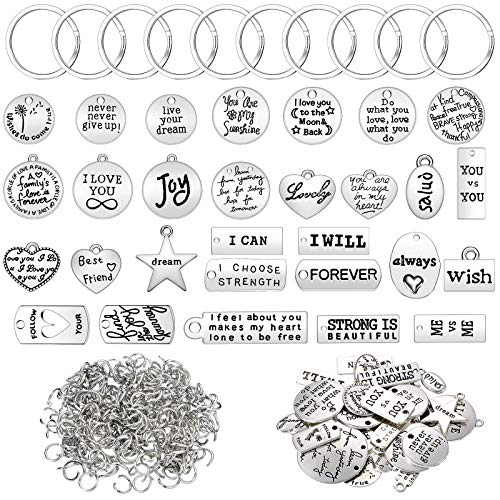 518 Pieces Motivational Keychain Accessory Set 58 Pieces Inspirational Words Charms Words Mixed Pendant Charms 60 Pieces Key Rings and 400 Pieces Open Jump Rings for Keychain Making(Silver)