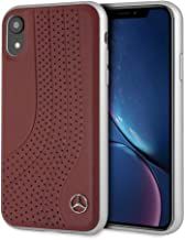 Mercedes Benz Compatible with iPhone Xr New Bow II - Genuine Leather Hard Case with Perforations - Red