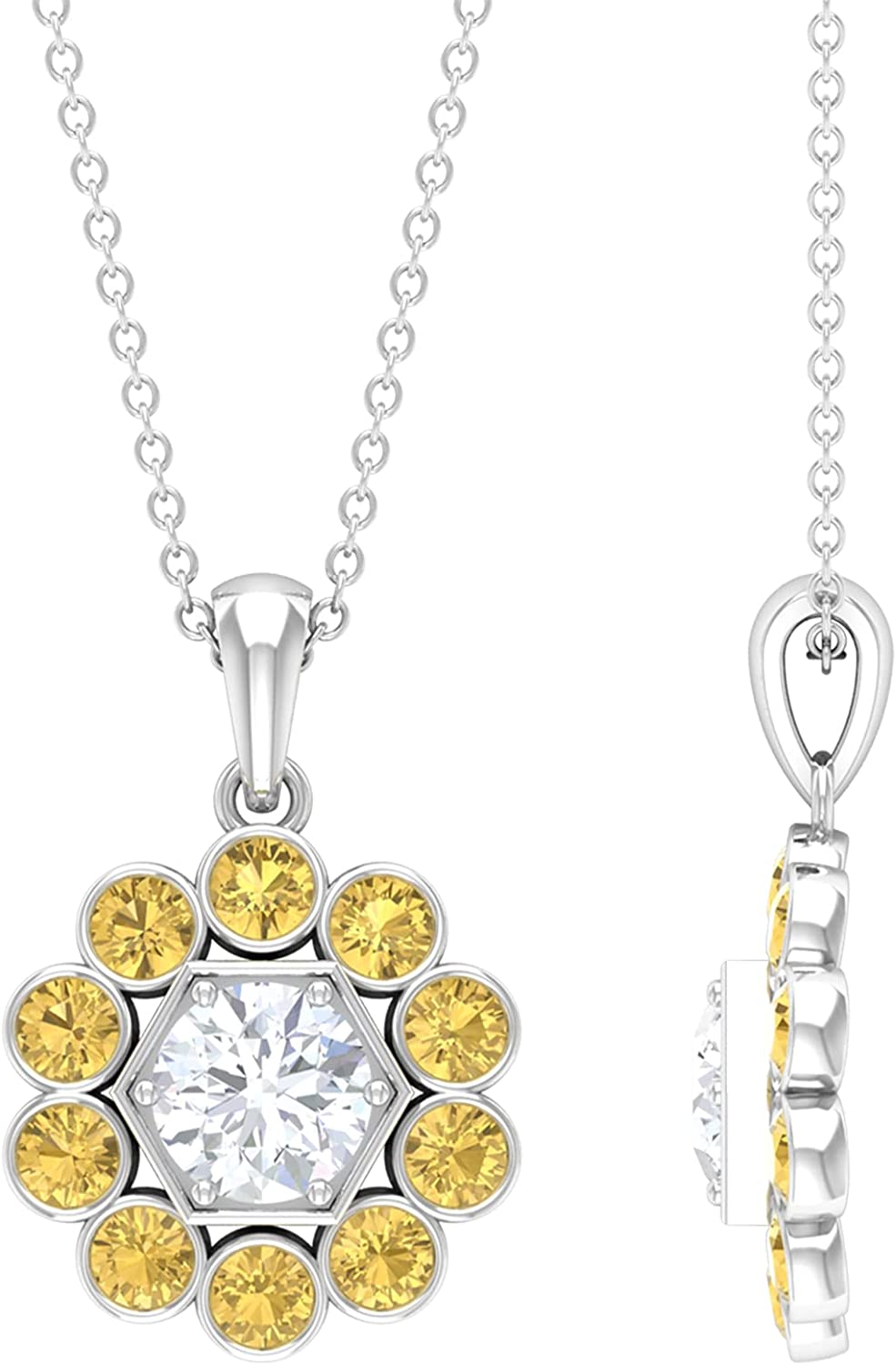 1.75 Ranking High material TOP13 CT Moissanite and Bezel Set Citrine Pendant AAA Halo Quali
