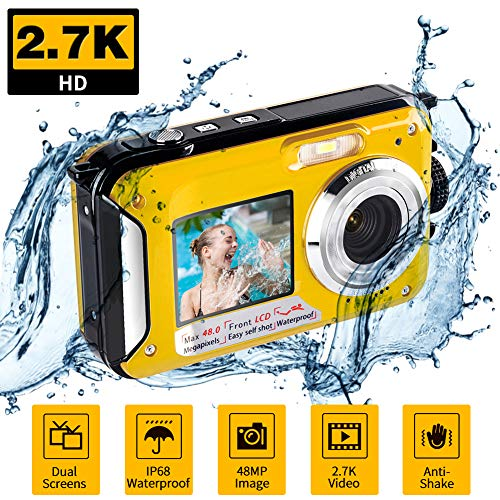 Underwater Waterproof Digital Camera for Snorkeling FHD 2.7K 48MP Selfie Dual Screen Video Camcorder Point & Shoot Digital Camera
