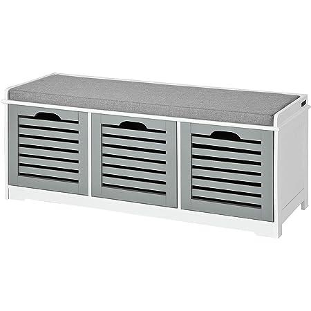 SoBuy® FSR23-HG Banc de Rangement avec Coussin rembourré et 3 Cubes, Meuble d'Entrée Commode à Chaussure Banquette Confortable