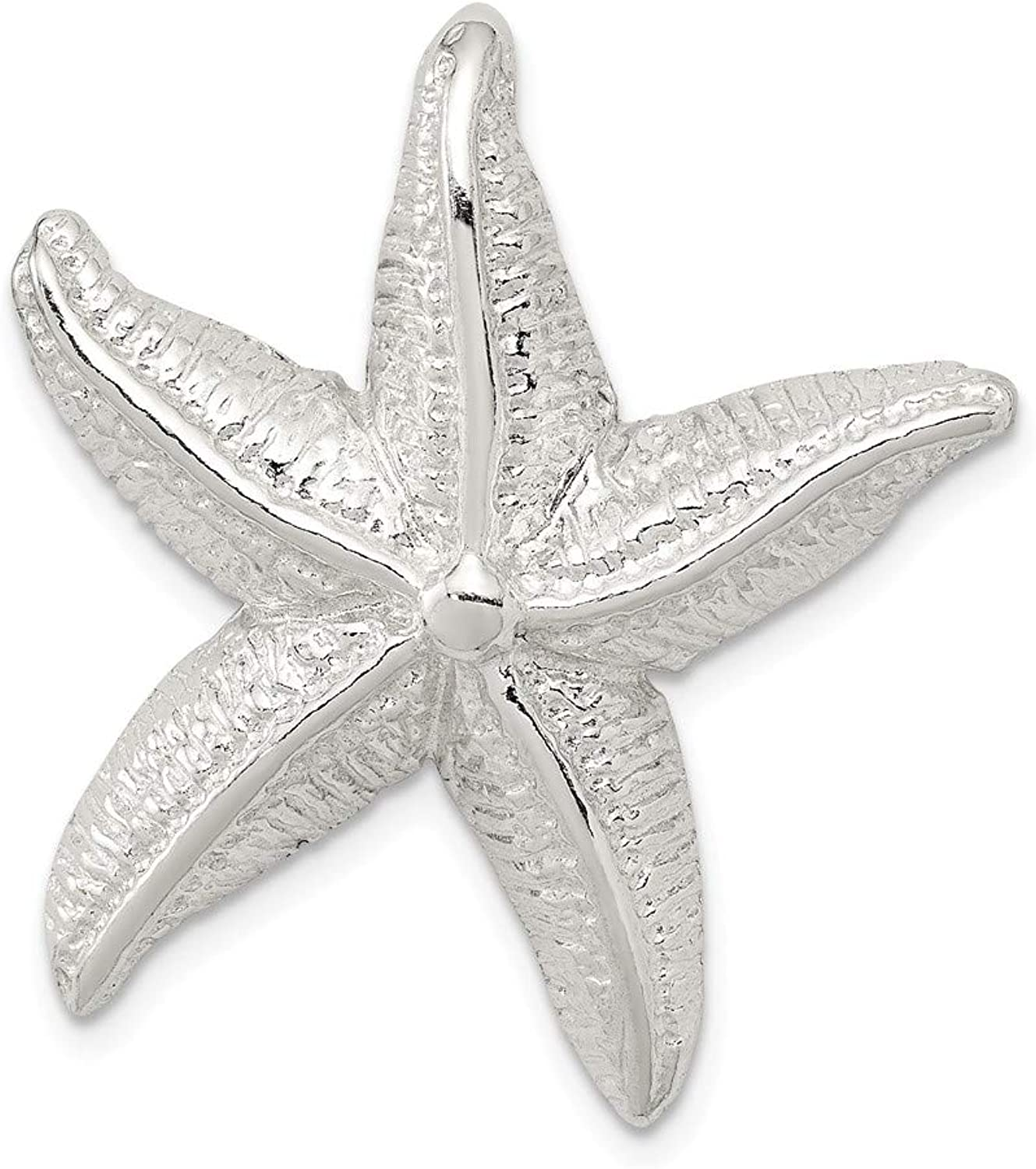 Beautiful Sterling silver 925 sterling Sterling Silver Polished & Textured Starfish Chain Slide Pendant