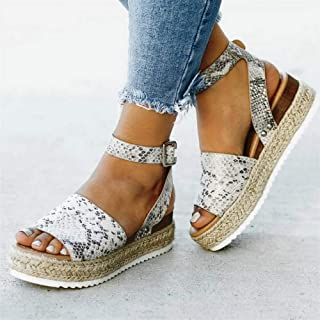 QIMITE Sandalias Plana Las Mujeres Sandalias De Cuñas Zapatos De Tacones Altos Bombas Sandalias Verano Flip Flop Sandalias De Plataforma De Serpentina