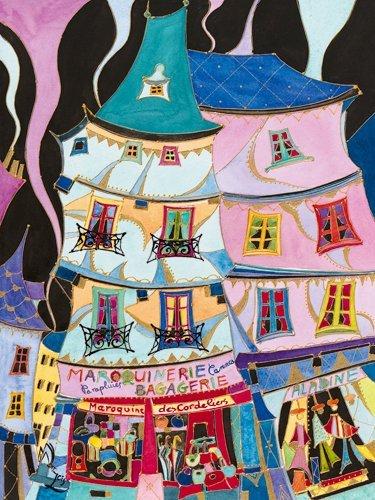 Leinwandbild Martine Wentzeis - La maroquinerie - 60 x 79.8cm - Premiumqualität - Stadt, Gebäude, Häuser, Geschäfte, Lederwarengeschäft, Frankreich, fröhlich, .. - MADE IN GERMANY - ART-GALERIE-SHOPde