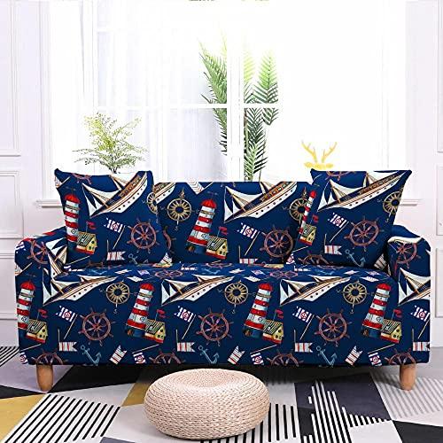 High Stretch Sofabezug Antirutsch Couchbezug Boot, Blau Bequemes Polyester-Spandex-Material 3 Seater:190-230cm Schützt Ihr Sofa vor Kratzern Durch Haustiere