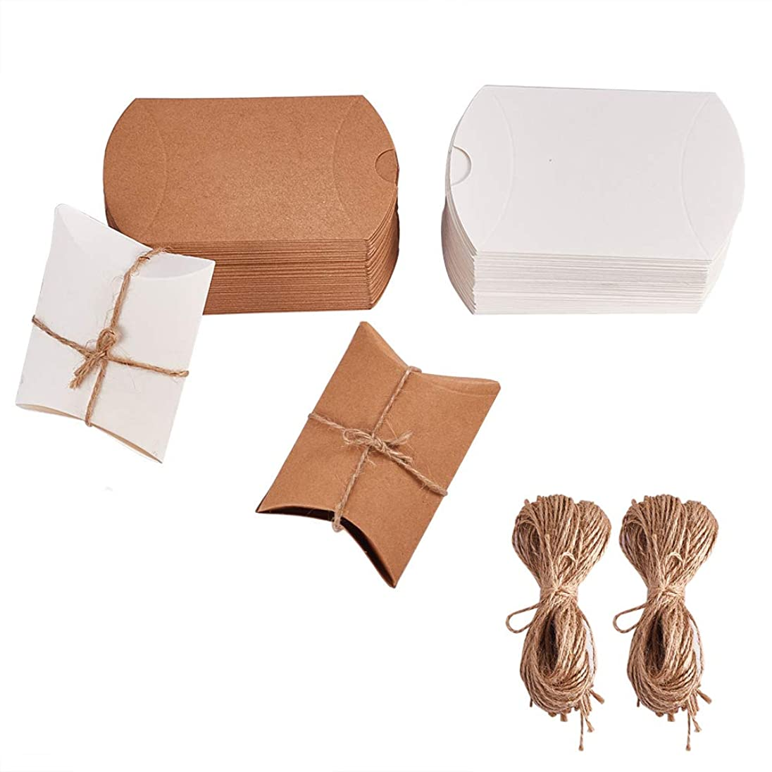 PH PandaHall 100pcs Pillow Kraft Boxes Wedding Favor Gift Box Candy Boxes with Jute Twine Baby Shower Birthday Party Supplies (0.8 x 3.4 inches, Sienna & White)