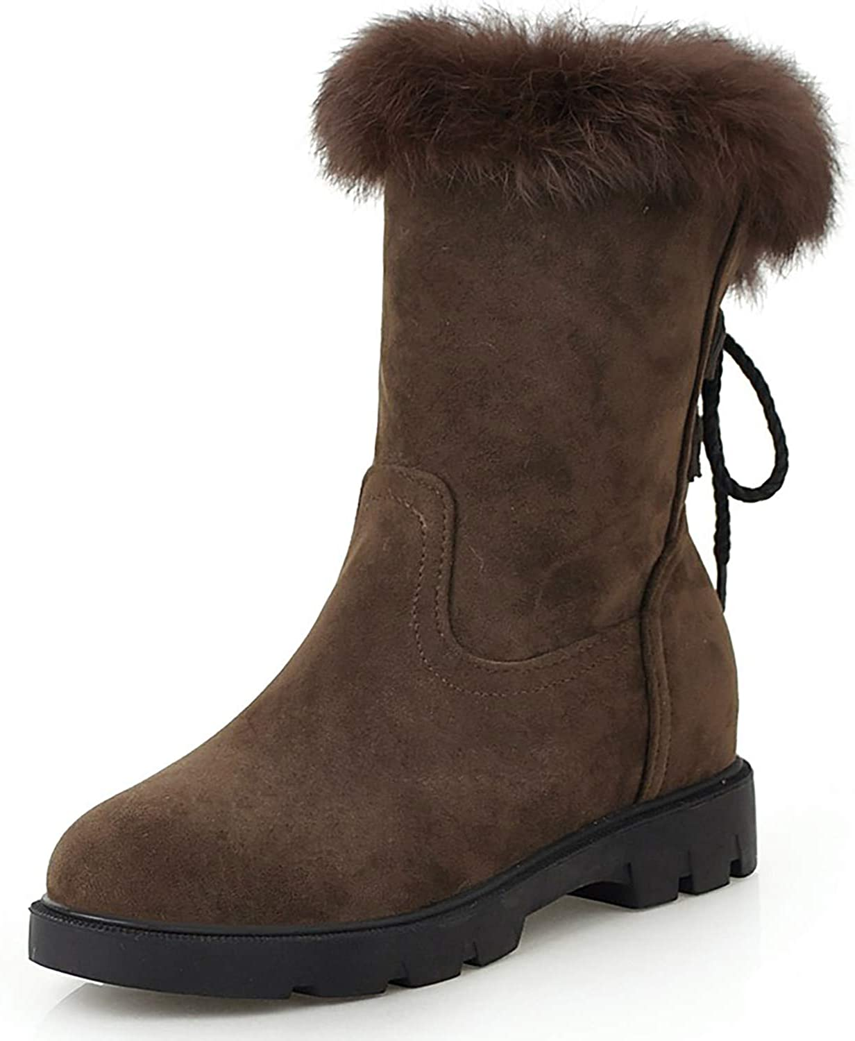 HEETIST Women's Faux Fur Lined Mid-Calf Boots Low Heel Lace-up Winter Warm Booties