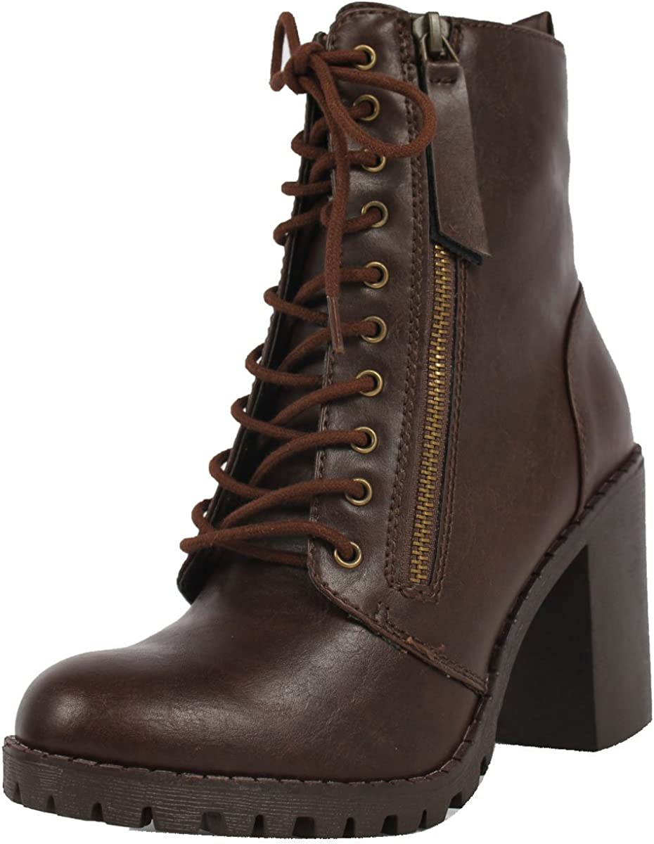 Soda Womens Malia Faux Lace Up Ankle Chunky Combat Phoenix Mall Boot Lug Sole Cheap super special price