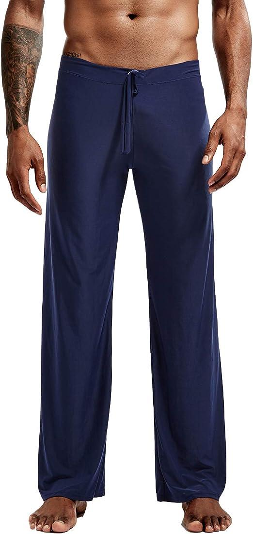 Lu's Chic Men's Pajama Pants Long Yoga Bottoms Lounge Stretch Sleepwear Drawstring Elastic