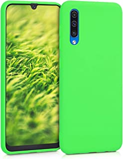 kwmobile TPU Silicone Case for Samsung Galaxy A50 - Soft Flexible Shock Absorbent Protective Phone Cover - Lime Green