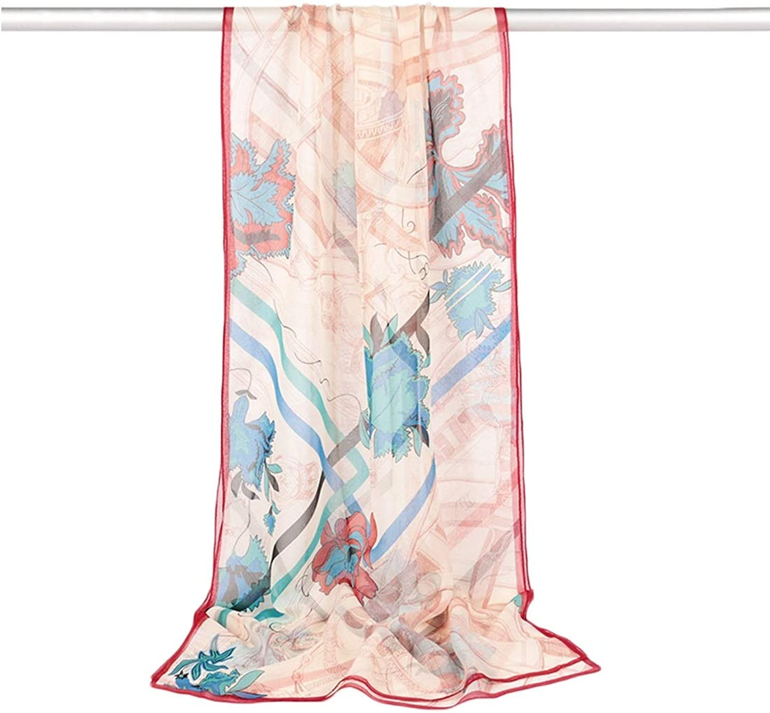 CEFULTY Print Women Beach Sunscreen Silk Scarf Beautiful Long Scarf for Womens (color   4, Size   175CMx52CM)