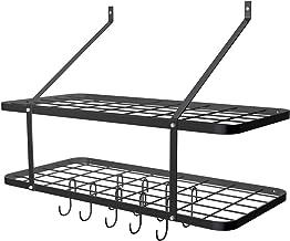 WISH 2-Tier Pot Rack Wall Mounted, Kitchen Storage Organizer Hanging Utensils Rack with 10 Hooks, Black