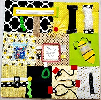 """Fidget Quilt Handmade in the U.S.A Memory Loss & Alzheimer s Blanket Dementia Toy with Bumble Bee Design Size 21"""" x 21"""""""