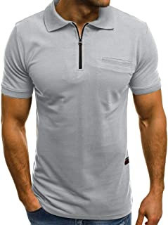 KASAAS Polo Shirts for Men Solid Zipper V-Neck Tops Short Sleeve Pocket Casual Fashion Slim Fit Pullover T-Shirt