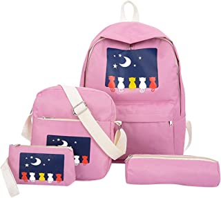 Wultia - Women Hot Four-Piece Backpack Candy Color Printed Cat Backpack Travel Teenagers Student Bag School Bag #G8 Pink