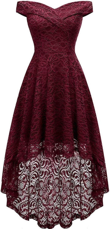 KERVINJESSIE Women's VNeck Off Shoulder Lace Dress Irregular Dress (color   Red, Size   XXL)