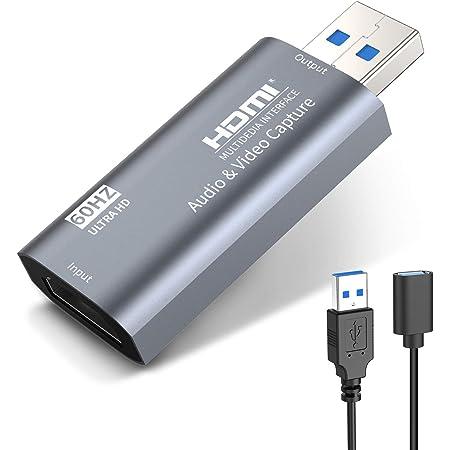 KINGONE HDMI キャプチャーボード ゲームキャプチャー USB3.0 60fps 1080P ゲーム実況生配信、ライブ会議、ライブビデオ配信、画面共有、録画に適用 フルHDキャプチャーカード switch、Xbox One、OBS Studio対応 電源不要(アップグレードバージョン)