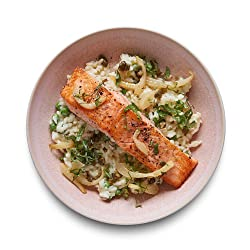 Amazon Meal Kits, Seared Salmon with Fennel & Pea Risotto, Serves 2