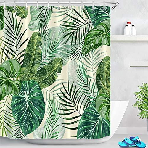 LB Palmblatt Duschvorhang Antischimmel Wasserdicht Polyester Badezimmer Vorhang, 180x200cm Grünes Tropisches Blätter, Creme Bad Gardinen mit Vorhanghaken