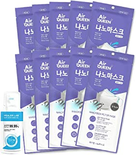 Air Queen Nano Mask 10 Packs, White Large Size and One Time Usage Hand Sanitizer, 2ml 1 Pack, Inex Mask Made in Korea