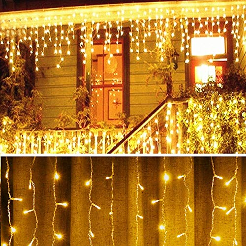 XLCFJUSZ Warm White 10 Ft 96 Led Window Curtain Icicle String Lights for Wedding Party Home Garden Bedroom Outdoor Indoor Wall Decorations