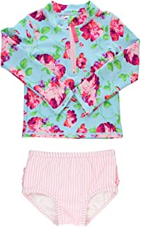 Little Girls Long Sleeve Rash Guard 2 Piece Swimsuit Set w/UPF 50+ Sun Protection with Zipper