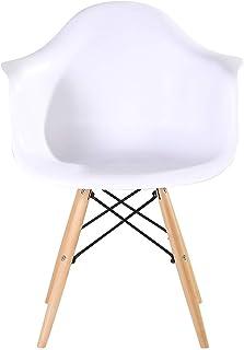 OYPY Un Conjunto de 4 sillas de diseño Medieval de restauración, diseño Retro sillones con Patas de Haya Maciza, Cocina sillas de Comedor (Blanco/Negro) (Color : Blanco)