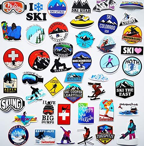 45 Stück Ski-Aufkleber Snowboard Helm Aufkleber Outdoor Aufkleber für Ski-Helme Brille Aufkleber Auto LKW Van Wand Cup