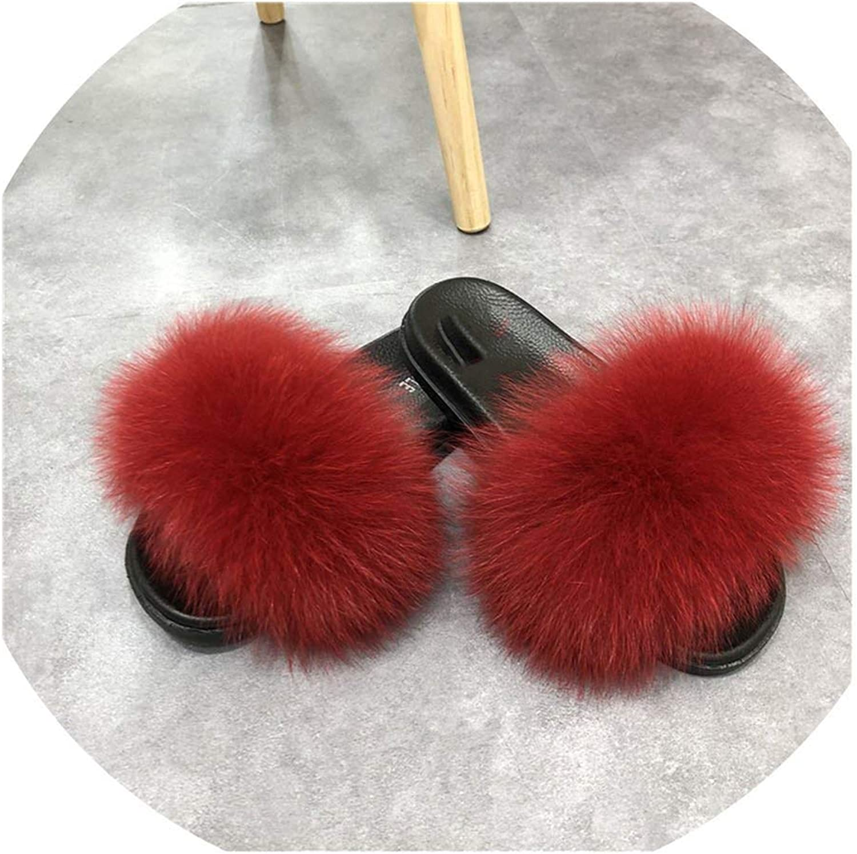 Mamamoo Women Fox Sliders Comfort with Furry Flats Sweet Ladies shoes Fox Fur Flip Flops