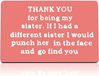 Sister Gifts from Sister Brother Friendship Gifts Engraved Wallet Card Gift for Sister Family Best Friends Card Gifts Than...