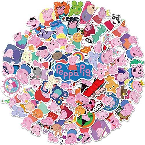LSPLSP Peppa Pig, computadora, teléfono, Cuaderno, Taza de Agua, Maleta, Grafiti Creativo, Pegatinas Impermeables Personalizadas, 100 Hojas