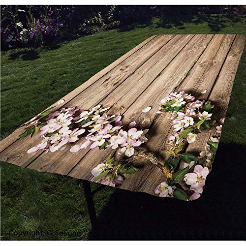 Rustic Home Decor Polyester Fitted Tablecloth,Sweet Spring Flowering Branch on Weathered Wooden Blooming Orchard Rectangular Elastic Edge Fitted Table Cover,Fits Rectangular Tables 48x24 Pink Brown G