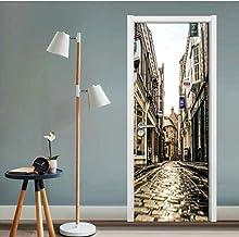 JHLP - Papel de pared retro Street View 3D, adhesivos para decoración de puertas, papel de pared, impermeable, reestructuración, adhesivos murales, papel de pared para dormitorio, 95 x 215 cm