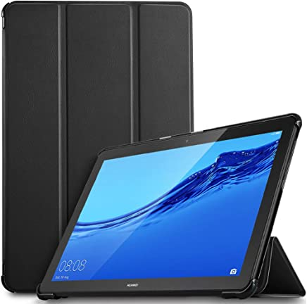 IVSO Custodia Cover per Huawei Mediapad T5 10, Slim Smart Protettiva Custodia Cover in Pelle PU per Huawei Mediapad T5 10.1 Pollici 2018, Nero
