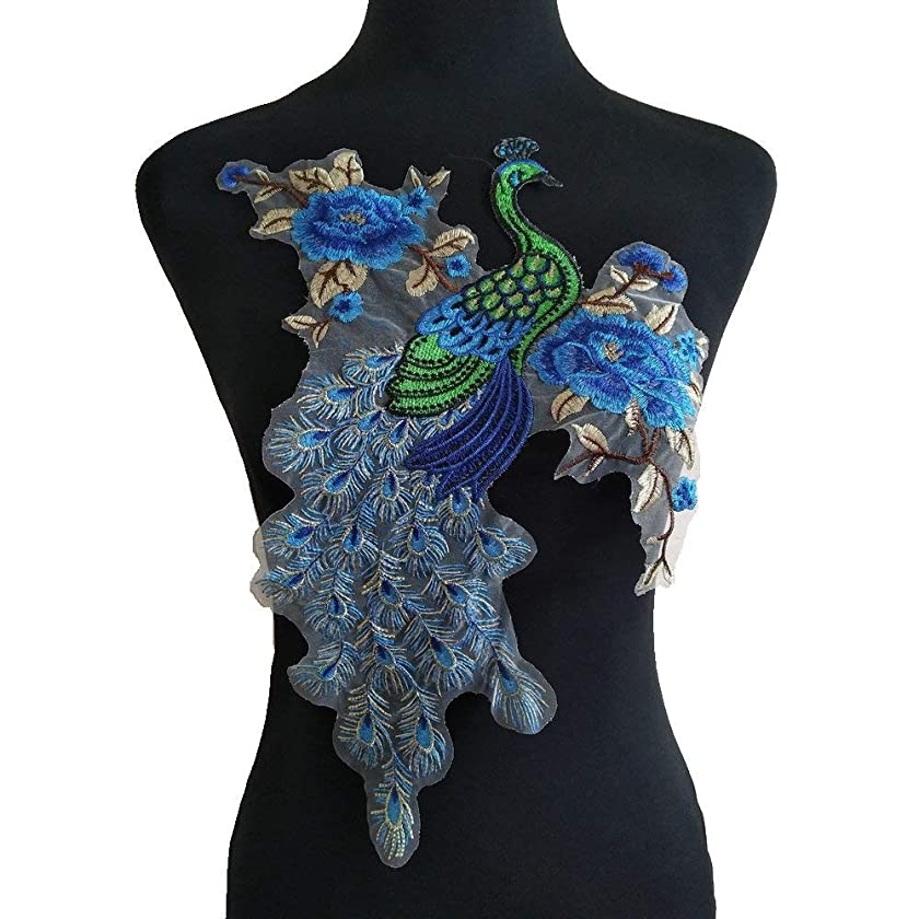 Blue Peacock Flower Embroidered Lace Neckline Collar Warm Tones Floral Brown Leaf Applique Patches Scrapbooking Embossed Sewing