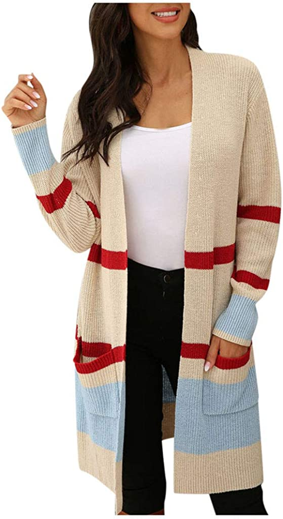 Xinantime Women's Open Front Cardigan Color Block Sweaters Striped Knit Long Sleeve Open Front Lightweight Shirt with Pocket