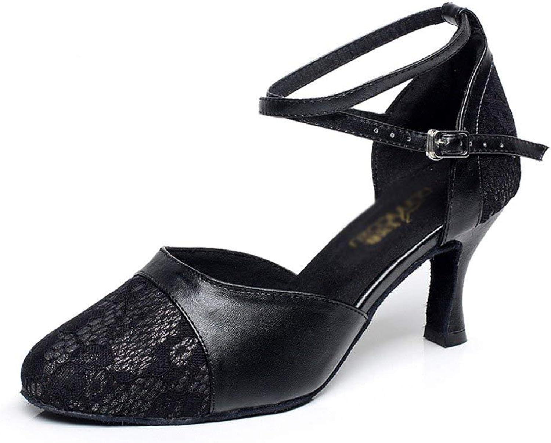 Latin Dance Schuhe Schuhe Schuhe für Damen, Leder Silk High Heel Soft Bottom Friendship Tanzschuhe (Farbe   Schwarz, Größe   Foot Length=24.8CM9.8Inch)  de1dd1
