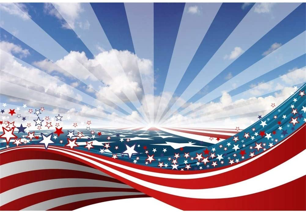 6x4ft Vinly Glittering America Flag Backdrop USA Independence Day Photo Backgroud July 4th National Day Freedom Patriotic Celebration Event Banner Photocall Portraits Studio Props