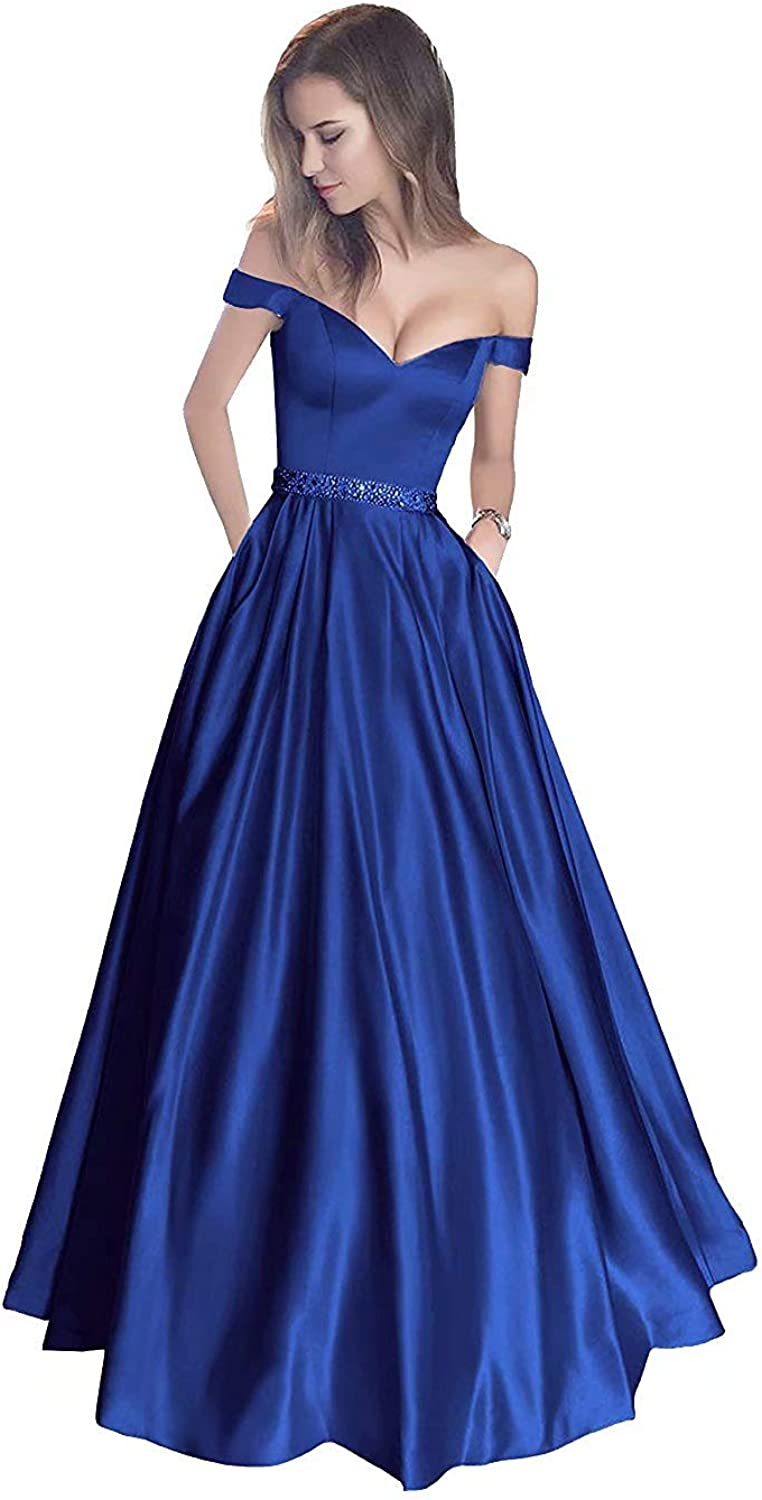 Honeywedding Off The Shoulder Prom Dress Quinceanera Dress Long Satin Beaded Formal Evening Gown with Pockets
