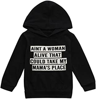 Boy Girls Toddler Baby Hoodie Long Sleeve Letter Print Hooded Sweatshirt Tops Clothes