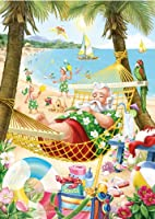 サンタのハワイアンのクリスマスカード–セットof 15